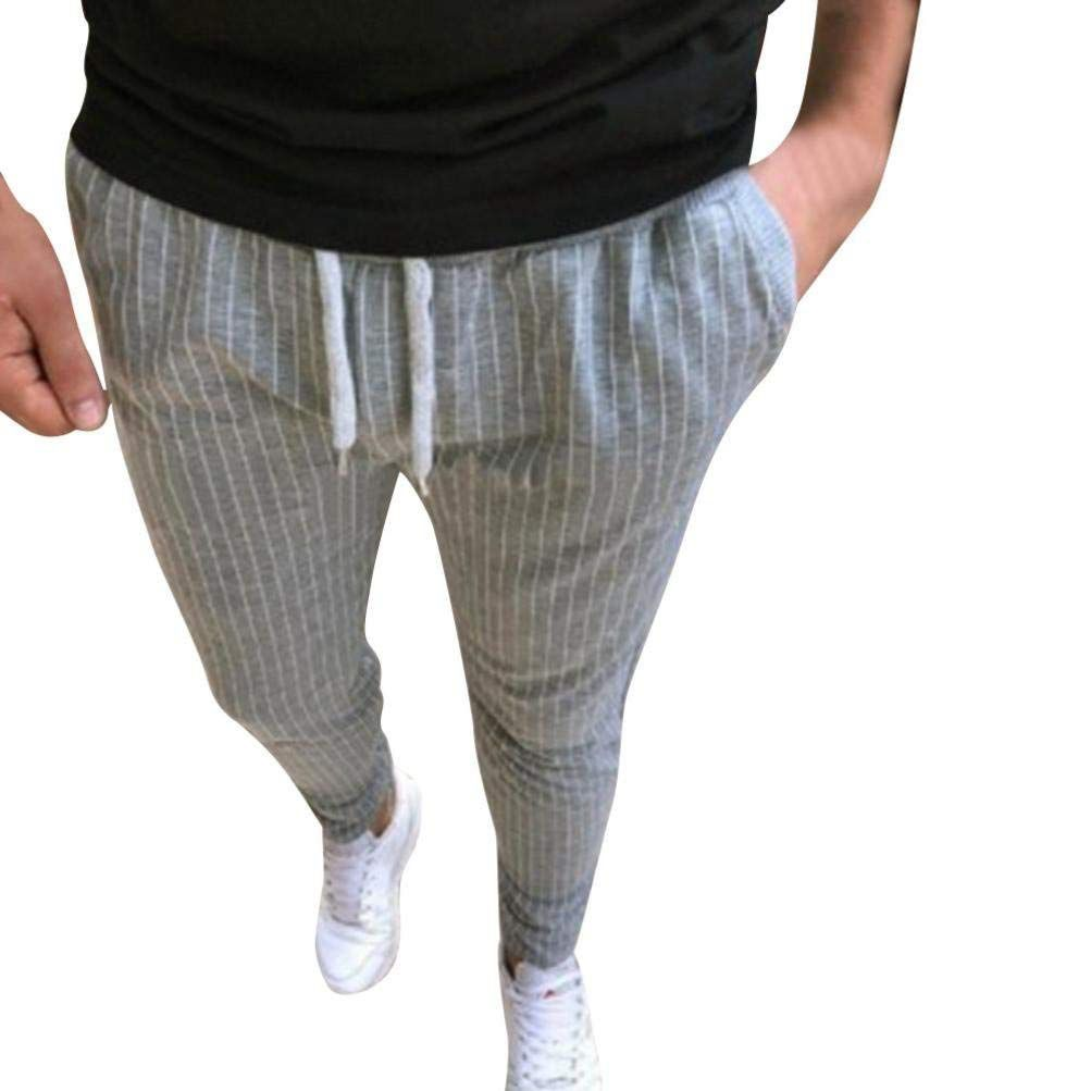 Fashion Hip Hop Drawstring Elastic Waist Slim Feet Pants Jogger Pants Casual Knitted Stretch Striped Sweatpants Trous