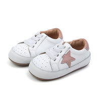 Kids Shoes 2019 Spring New Genuine Leather Toddler Baby Rubber Non slip Stars First Walkers One Pedal Learn To Walk Single Shoe