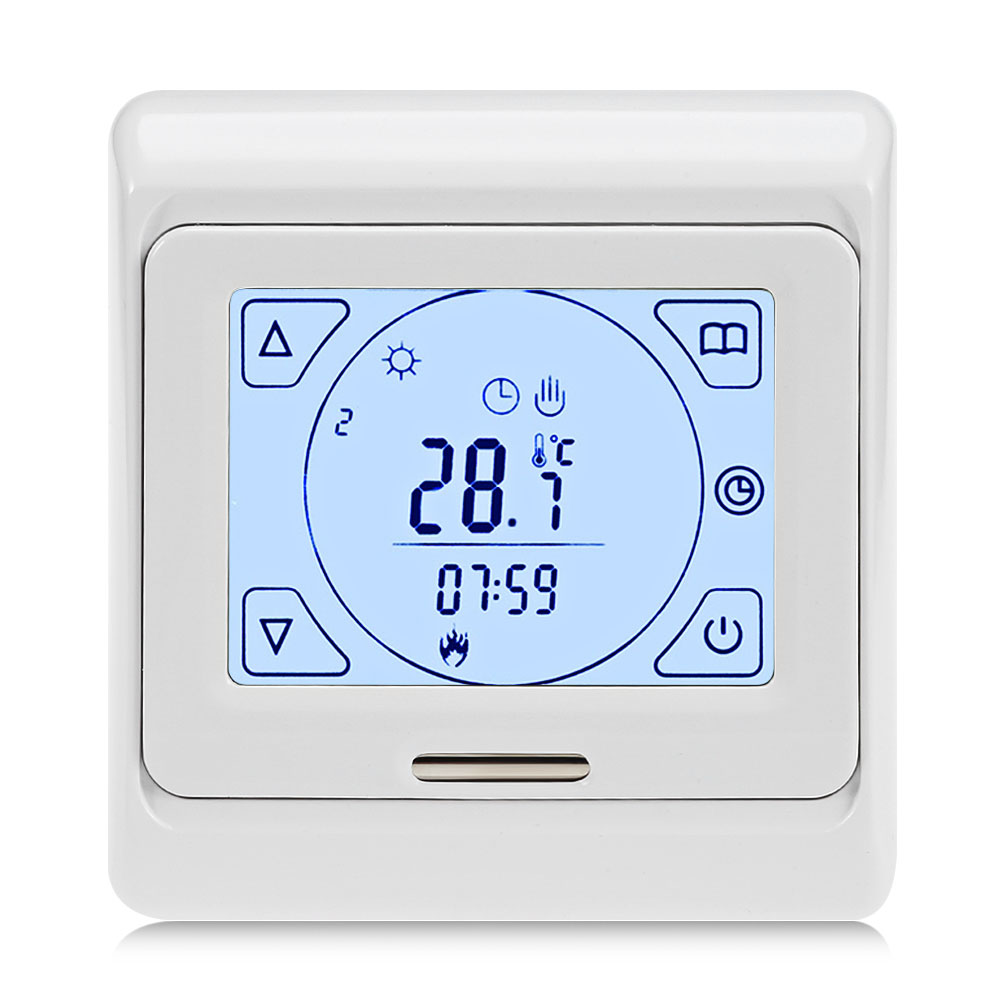 LCD Touch-screen Weekly Programming Heating Thermostat Temperature Controller for Floor Electricity Water HeatingLCD Touch-screen Weekly Programming Heating Thermostat Temperature Controller for Floor Electricity Water Heating