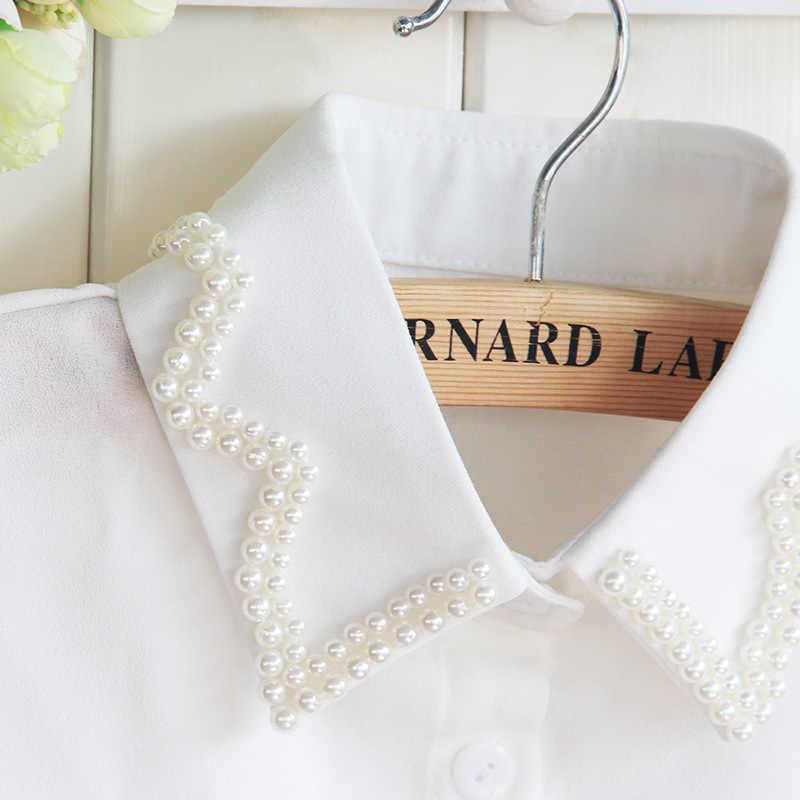 Neue Muster Dickie Nagel Perle Weiß Shirt Frauen Dickie Perle Frauen Tops Und Gefälschte Kragen Blusen Großhandel Drop Verschiffen