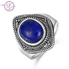 купить New listing men and women models S925 sterling silverjewelry ring natural lapis lazuli 8X10 oval vintage texture ring gift whol по цене 498.9 рублей