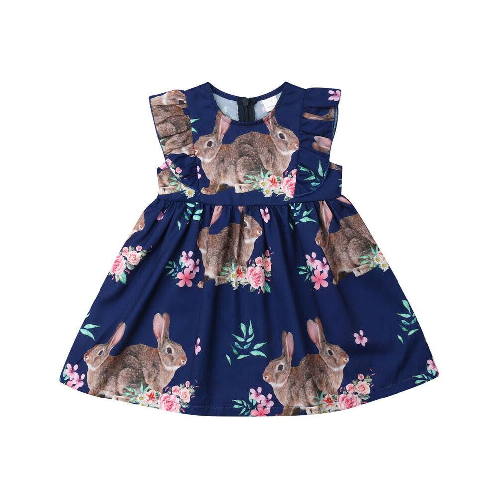 2019 vestido de Pascua para niñas. Vestido para niñas recién nacidas. Vestido tutú de fiesta de conejito de dibujos animados para niñas. Ropa de verano sin mangas