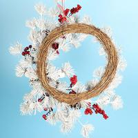 2018 Christmas White Pine Needle Bell Pine Cone Garland 55CM Red Fruit Decoration Home Hotel Mall Window Door Hanging