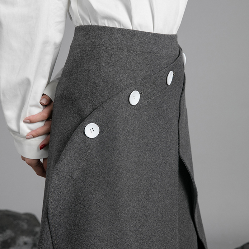 [EAM] 2019 New Spring Summer Woman Stylish Solid Color High Waist Irregular One-piece Wear Side Button Half-body Skirt LE464