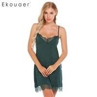 Ekouaer Для женщин сексуальная ночная рубашка кружевной отделкой белье пижамы камзол сорочка v-образным вырезом домашнее платье Ночная рубашк...