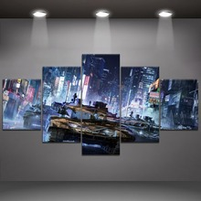 5 Panel Tank War Canvas Printed Painting For Living Room Wall Decor HD Picture Artworks Poster