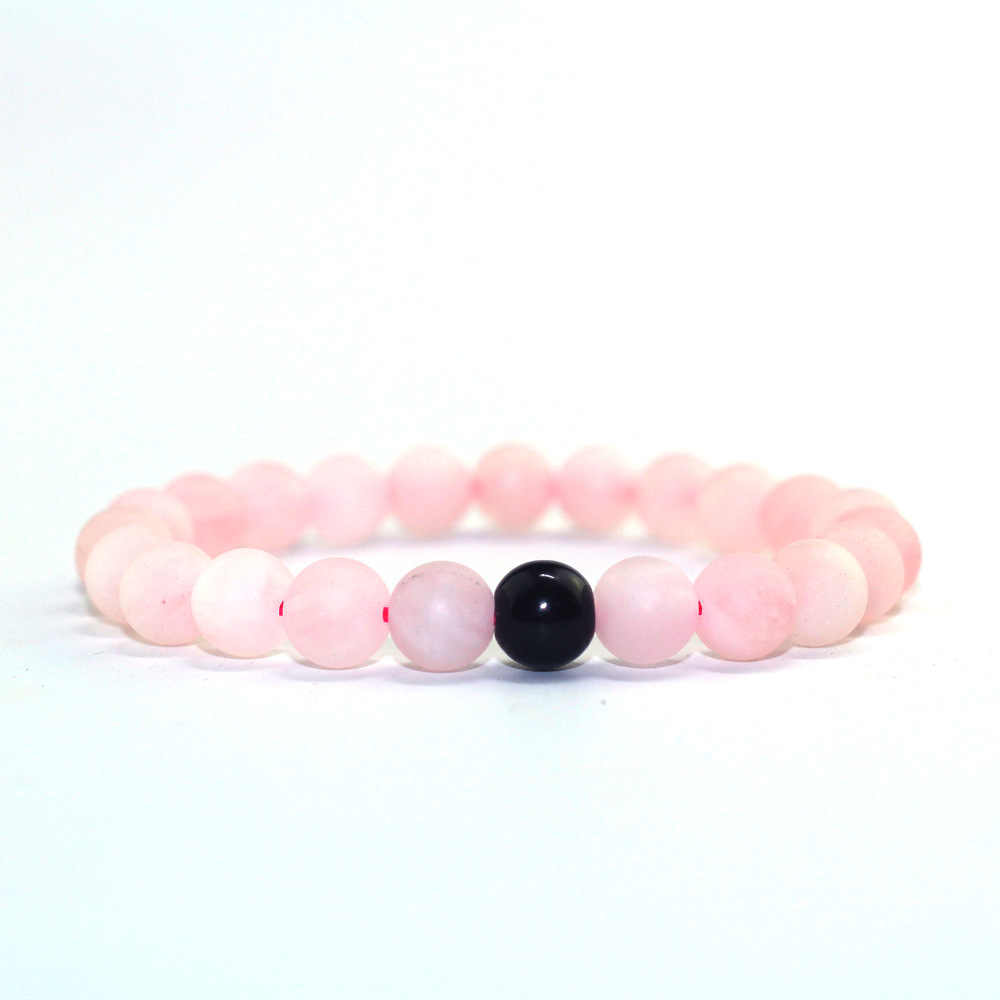 2Pcs/Set High Quality Couple Beaded Bracelet Pink Frosted Obsidian Combination Men and Women Charm Bracelet Jewelry