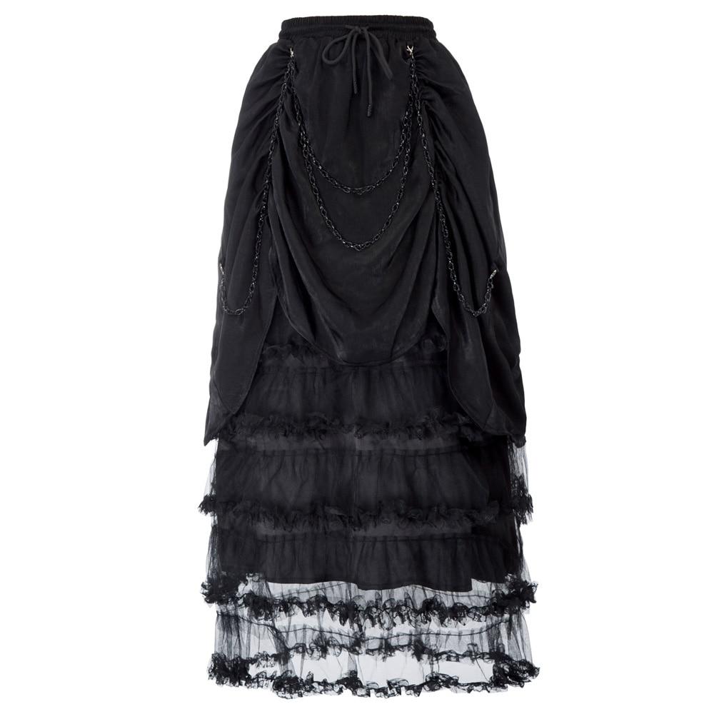 las Cadena Tul Las Geniales Negro Patchwork Black Decorado De Con Maxi Faldas Mujeres Vestido Gótico Victoriano Falda Volantes Chicas Fruncido rcfqFr