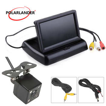 TFT LCD 480x234 resolution Car Reverse monitor Foldable with 4LED rear camera and transmitter receiver