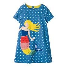 Littlemandy Girls Dresses Mermaids Appliques Summer Princess Dress Brand Baby Clothes Short Sleeve Tunic Moana