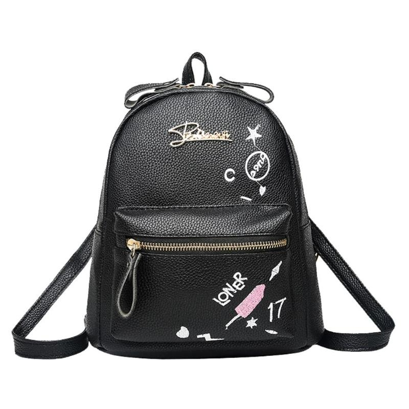 Women Small Backpack Preppy Style PU Leather Floral Print Travel School Shoulder Mini Backpack
