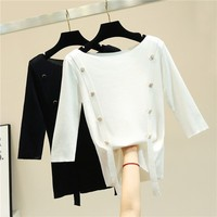 Solid color Ice silk t shirt women three quater length sleeve fashion tops 2019 new arrivals