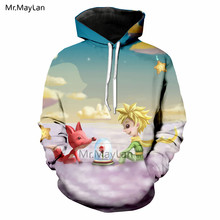 Le Petit Prince Wolf and Rose 3D Print Hoodies Men/Women Casual Streetwear Jacket Man Hipster Cartoon Tracksuits Modis Clothes недорго, оригинальная цена