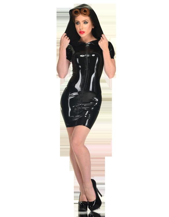 Women Sexy Black PVC Hooded Mini Dress Wetlook Nightclub Party PU Leather Dresses