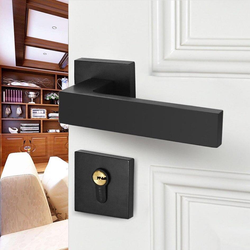Alliage de Zinc noir serrure US Style intérieur maison en bois massif porte poignée muet porte serrure Continental chambre minimaliste porte intérieure
