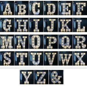Image 3 - 16CM LED Licht Brief Festzelt Alphabet Licht Indoor Batterie Nacht Licht Für Hochzeit Geburtstag Decor Heißer Tisch Lampe geschenk