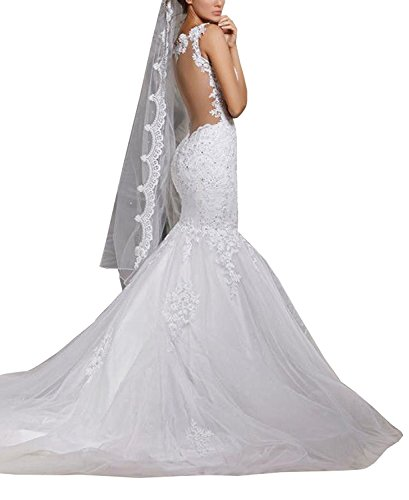BacklakeGirls Wedding Women' Mermaid Lace Backless Spaghetti Wedding Dresses Bridal