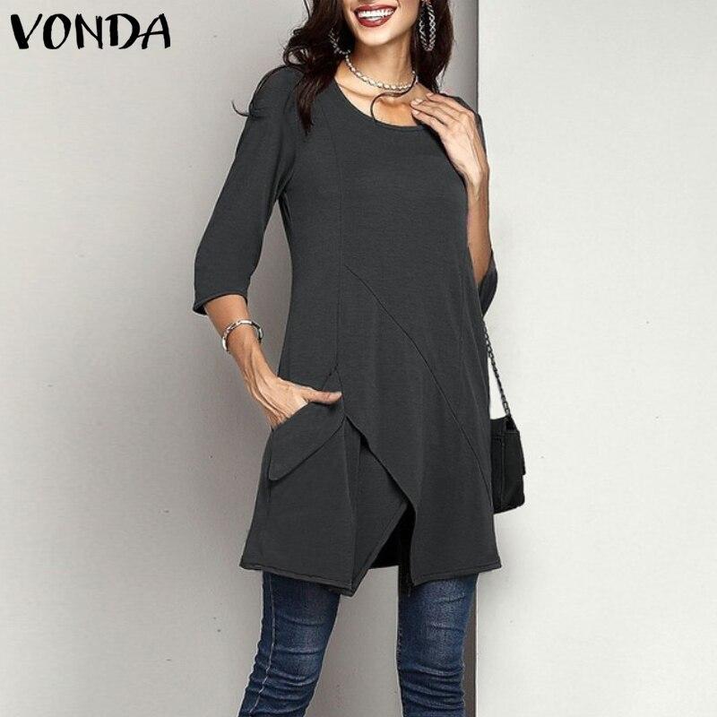 VONDA Women Blouses Plus Size Tops 2019 Autumn Casual Loose 3/4 Sleeve Irregular Pockets Shirts Sexy Vintage Blusas Femininas