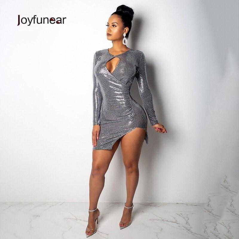 Joyfunear 2019 Hollow Out Sexy Bodycon Dresses Women Long Sleeve Above Knee Silver Sequin Dresses Clubwear Party Dress Vestidos