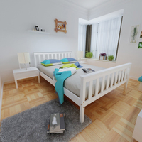 Fast Delivery Panana Modern Bedroom Double Bed 3ft /4ft6 Wooden Frame White Strong Basic Kids/Adult Sleeping Bed Home Furnitures