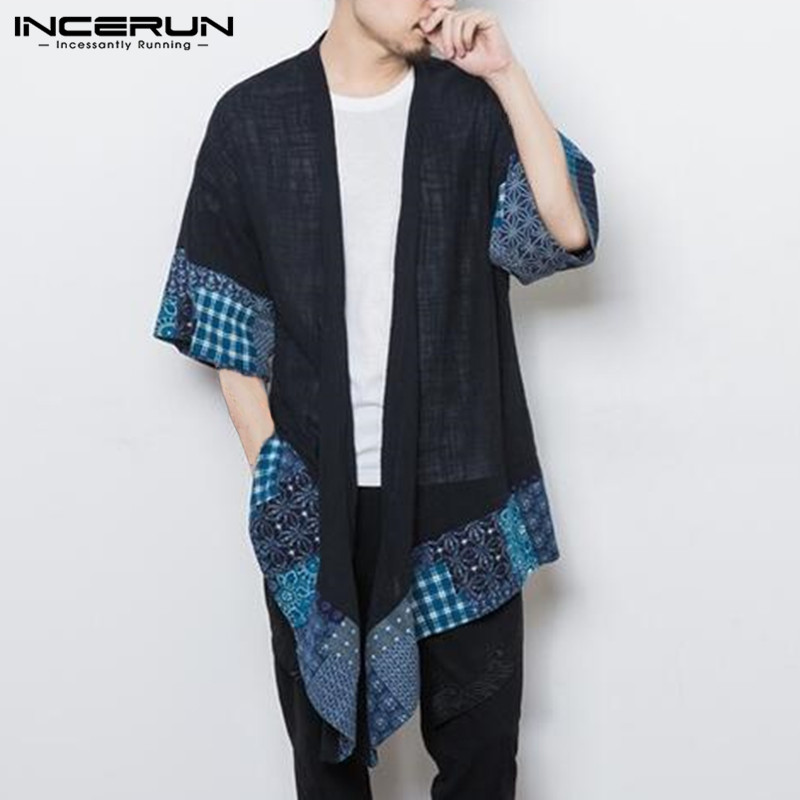 INCERUN Men's   Trench   Coat Outerwear Cotton 3/4 Sleeve Kimono Irregular Patchwork Chinese Style Vintage Cloak Cape Men Cardigan