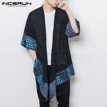 INCERUN Men's Trench Coat Outerwear Cotton 3/4 Sleeve Kimono