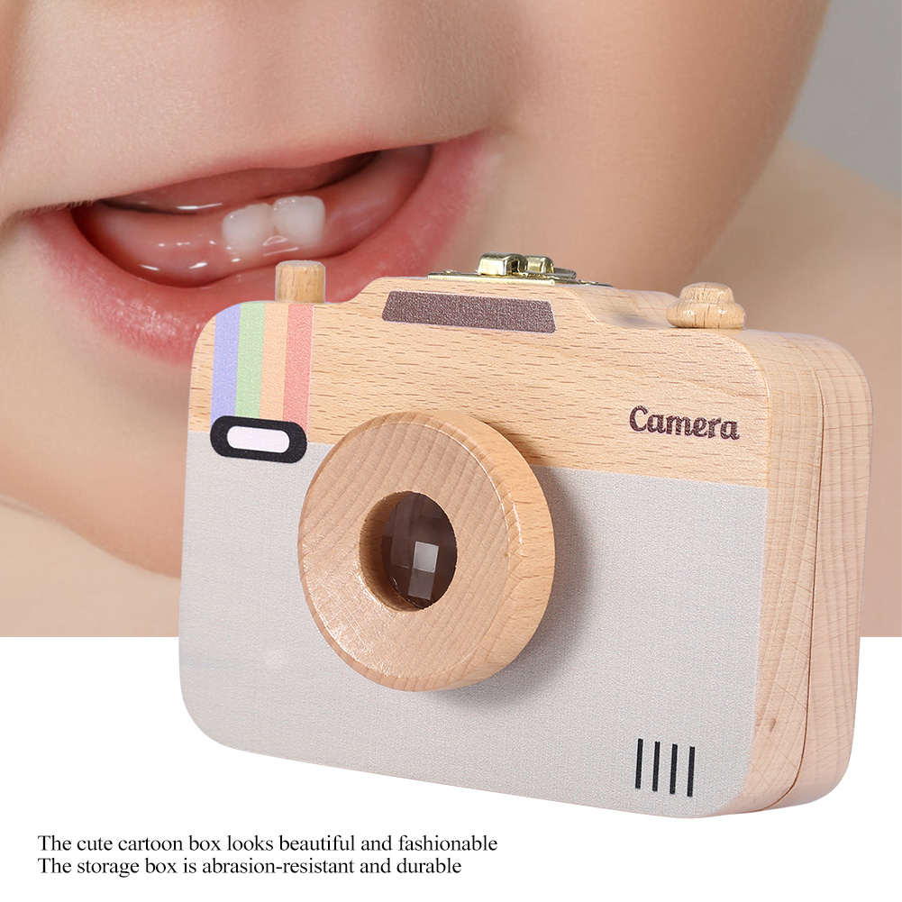 Wooden Baby Tooth Box Teeth Organizer Wooden Camera-pattern Storage Box Case For Baby Teeth And Baby Hair