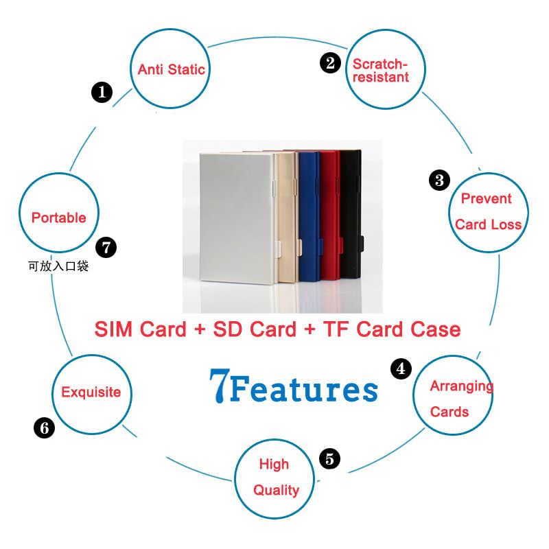 Argent monocouche aluminium 2 SD + 3TF Micro SD cartes titulaire Pin boîte de rangement étui étuis de carte mémoire protecteur de haute qualité