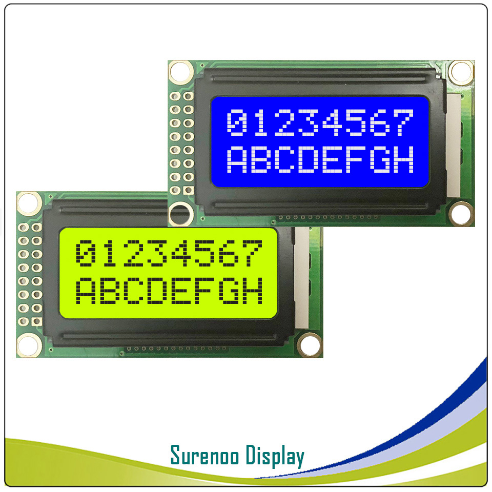 5PCS X 8*2 0802 8X2 Character LCD Module Display Screen LCM With Yellow Green Backlight Or Blue Color