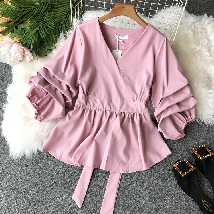 2109 Spring Women V-neck Puff Sleeves Blouse Slim Tunic Tops Retro Vintage Pullovers Busos Para Mujer Kimonos 69