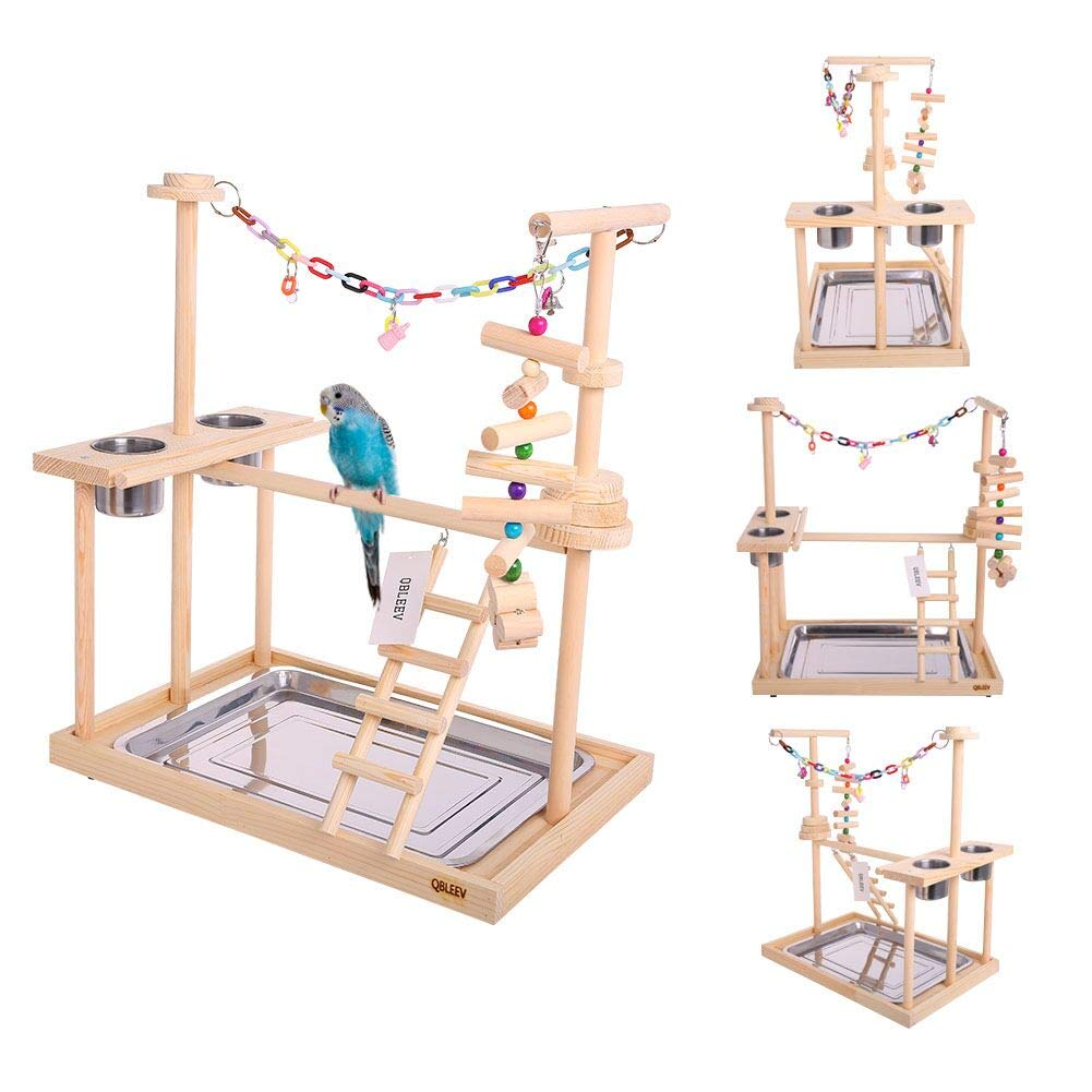 Large Parrot Playstand Bird Play Stand Cockatiel Playground Wood Perch Gym Playpen Ladder with Feeder Cups