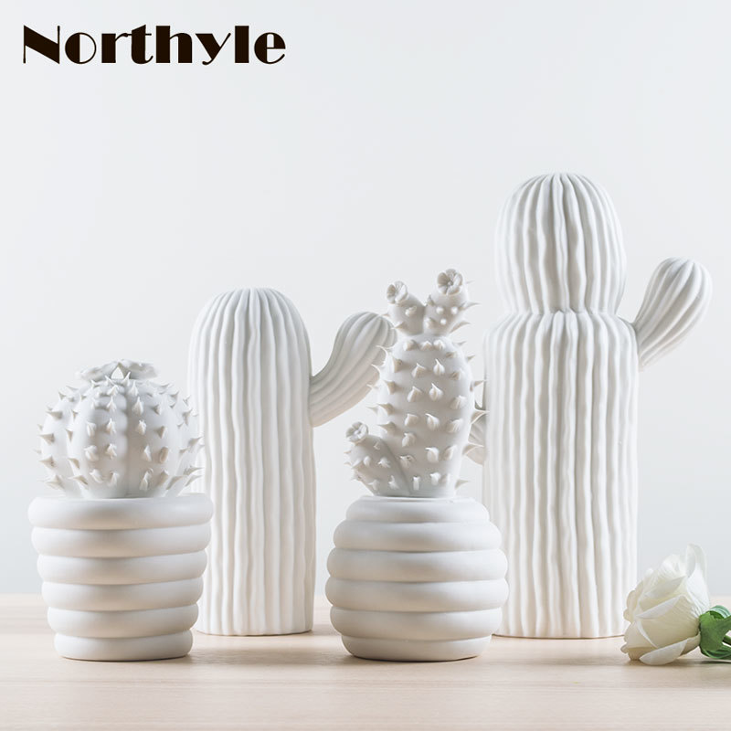 Moderna ceramica bianca decorazione cactus regalo di natale figurine - Home decor