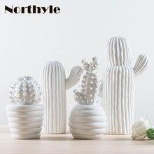 현대 white ceramic cactus 장식 xmas gift 인형 도자기 art craft 대 한 홈 ornament 액세서리 펭 shui decor