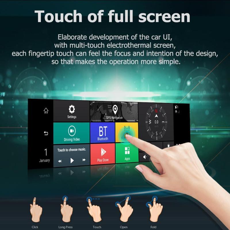10 pouces IPS écran tactile 170 degrés 4 lentilles 1296 P octa-core voiture rétroviseur DVR GPS enregistreur vidéo ADAS Dash Cam