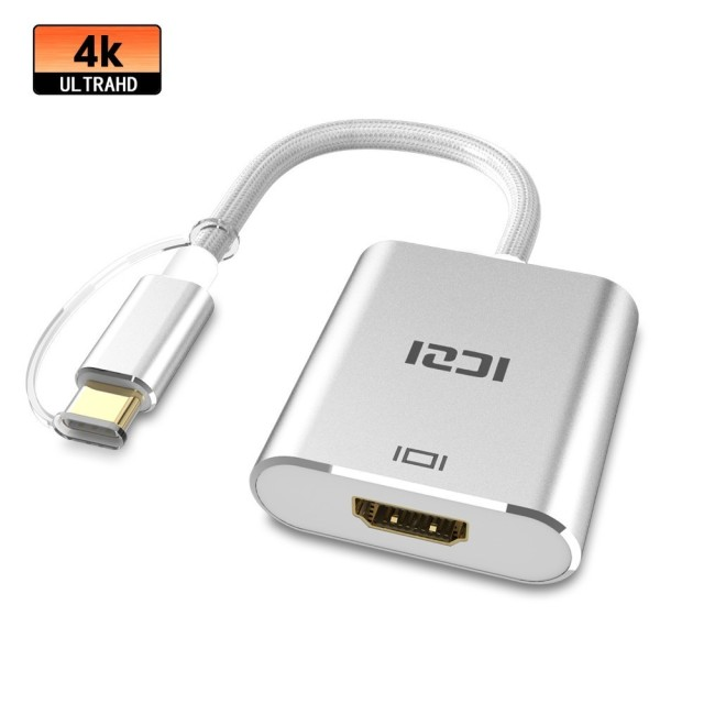 "ICZI 4K USB C to HDMI Aluminum Body Adapter Thunderbolt 3 Compatible Type C Converter for Macbook 2017 12"" Samsung Note 9 S9"