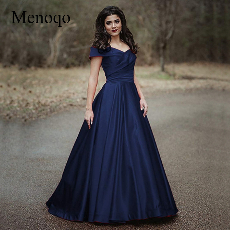 Menoqo 2019 Navy Blue Women's   Evening     Dress   A-line Sexy Satin Long V-Neck off the Shoulder Formal   Dresses     Evening   Gown
