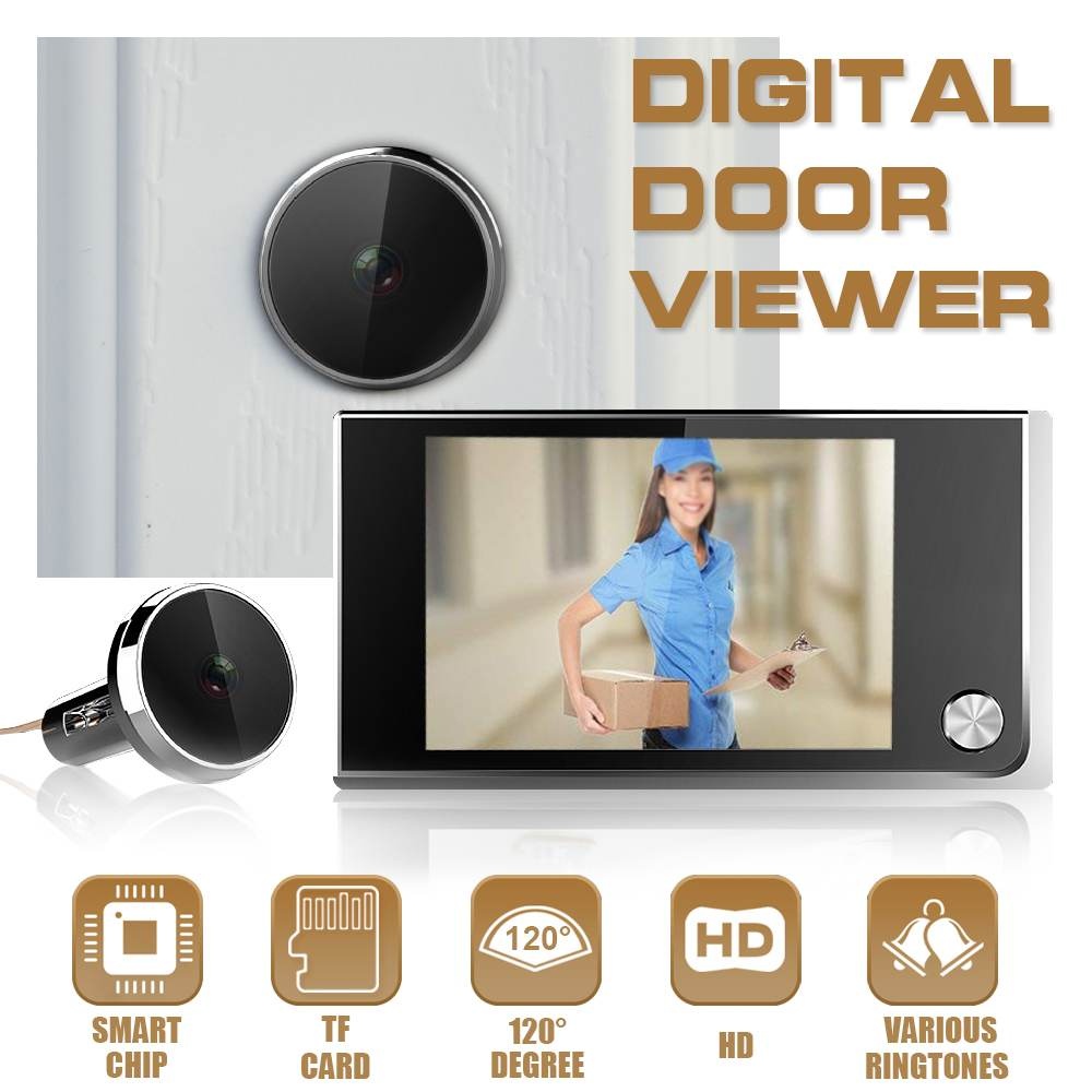 3.5 LCD Digital Door Viewer Doorbell Câmera de Segurança Câmera Olho de Gato Eletrônico Monitor de Foto