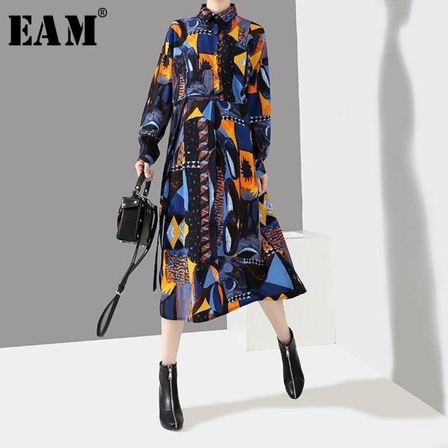 [EAM] 2019 New Spring summer Lapel Long Sleeve Blue Pattern Prited Loose Large Size Pocket Dress Women Fashion Tide JI485