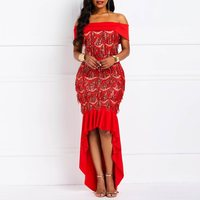 Sexy Women Slash Neck Irregular Maxi Dress 2019 Evening Party Long Red Dresses African Bodycon Robe Mermaid Trumpet Dress