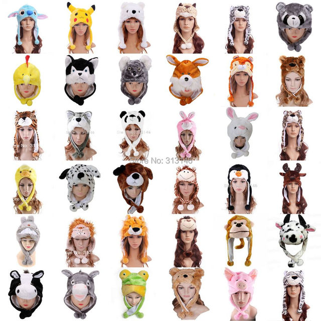 מגוון רך קריקטורה בפלאש בעלי החיים פאזי כפת כובע חם חורף למבוגרים נשים Mens ילדי ילדים בני בנות פלאפי Cosplay תלבושות