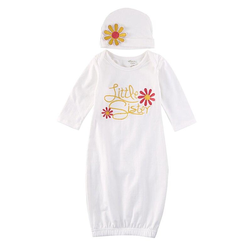 Helder Leuke Pasgeboren Baby Meisje Zusje Bloemen Inbakeren Wrap Inbakeren Deken Slaapzak Gown Hoed 2 Stuks Baby Kleding 0 -6 M