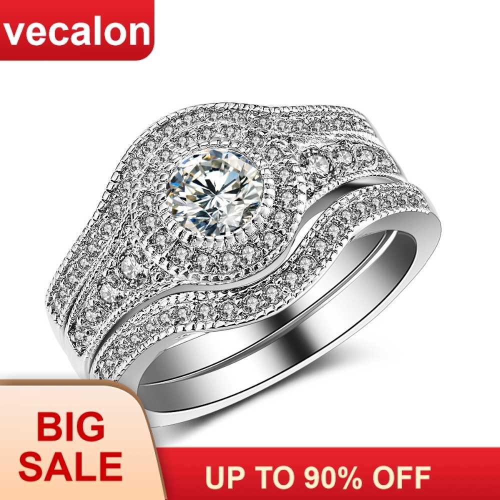 2ct 5a zircon cz 10kt branco ouro enchido festa anel de dedo anel de casamento conjunto de anel de banda de casamento de noivado do vintage da forma para as mulheres