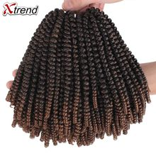 Xtrend Spring Twist Hair Extension Meche Crochet Braid Tresse Crotchet Braids kinky Passion Twist Curly Synthetic 1 to 10 packs(China)