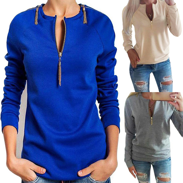 9a779ebe1e8f Sexy V Neck Zipper T Shirt Women Long Sleeve Slim Tunic Tops Tshirt Casual  Solid Color T-Shirt Ladies Clothes Tee Shirt Femme