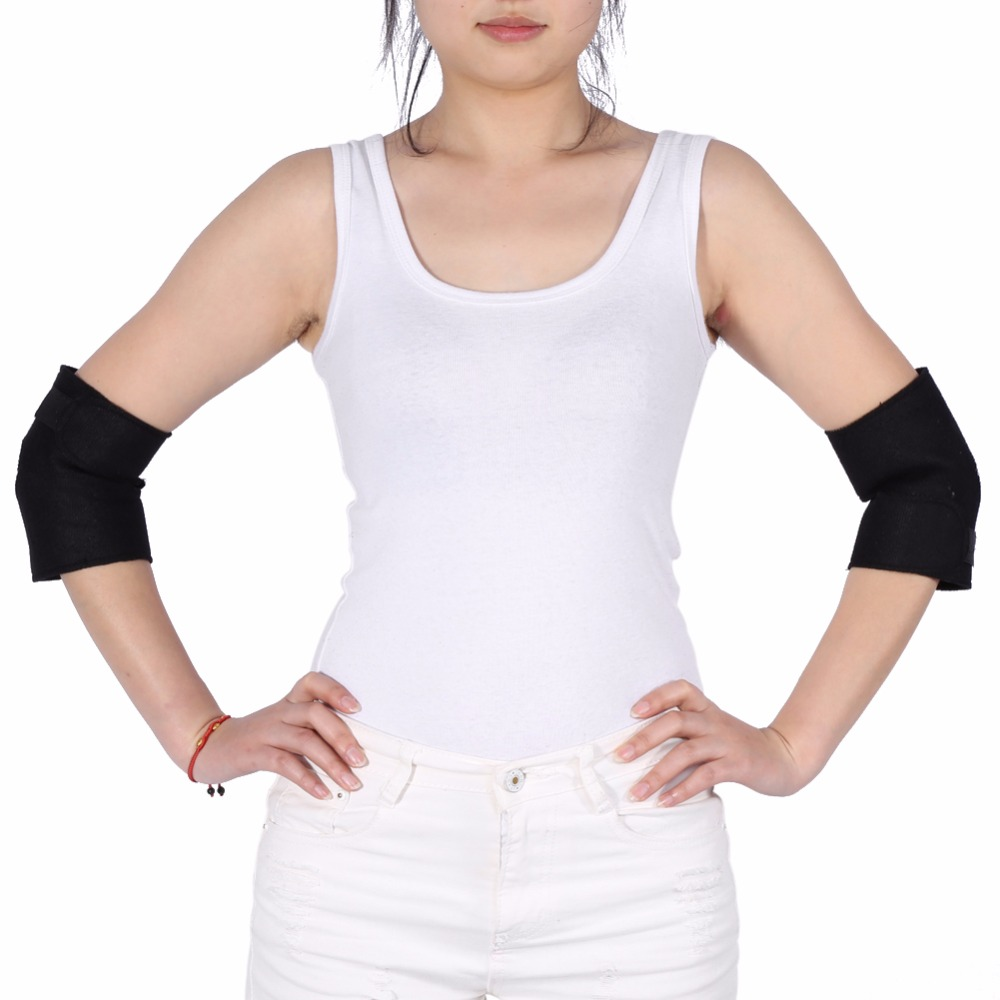 1 Pair Tourmaline Self-heating Elbow Care Support Pad Arthritis Protector Magnetic Therapy Joint Pain Relief Knee Elbow Brace