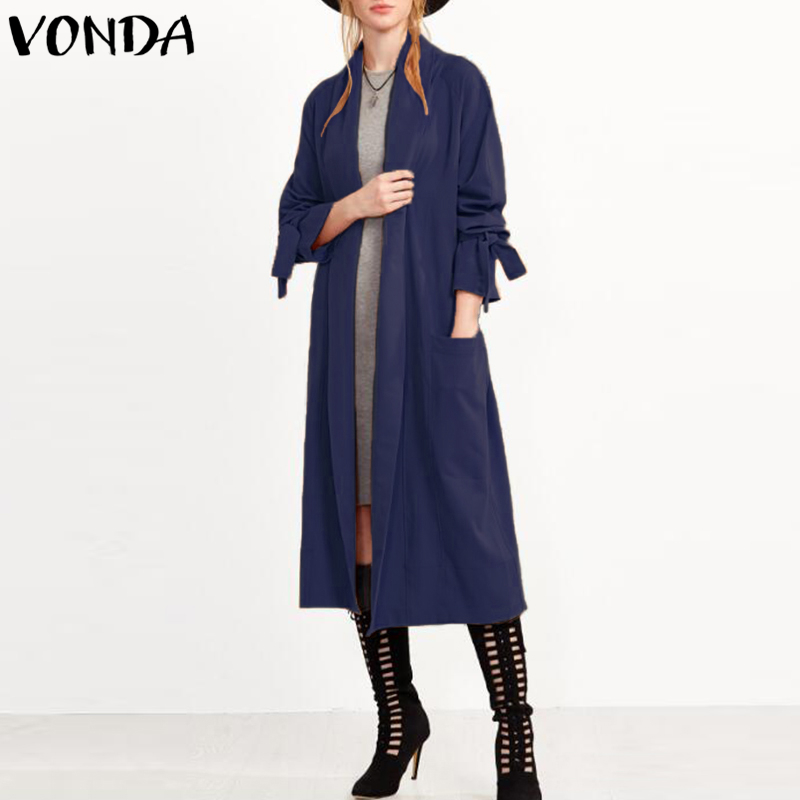 VONDA Women Retro Long Trench Coats 2018 Autumn Spring Outwear Casual Tops Turn Down Collar Full Sleeve Pockets Elegant Cardigan