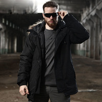 Men Winter Warm Fur Collar Thick Coat Outdoor Training Riding Hiking Windproof Waterproof Thermal Hooded Tactical Cotton Jacket