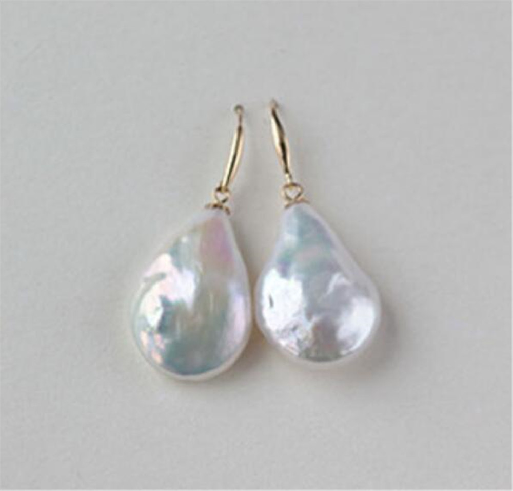 Mesmerizing natural 13-14MM HUGE baroque south sea pearl earrings 18K GOLD