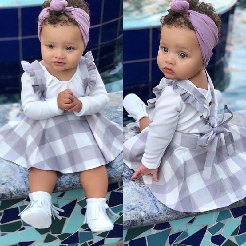 Pudcoco Baby Girl Suit 0-24M Newborn Baby Girls Bodysuit Jumpsuit Plaids Skirt Suspender Outfits