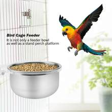 Bird Cage Food Water Feeder Bowl + Rack Parrot Parakeet Cage Accessories comedero para pajaros vogel voerbak quail feeders(China)